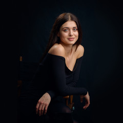 Beauty portrait of a young woman in the studio