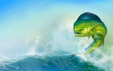 Mahi mahi or dolphin fish on background. Big fish on the background of large waves.