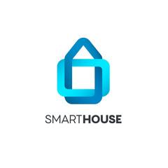 Vector logo design template. Smart house icon.