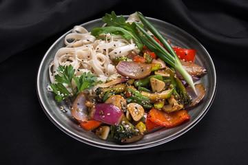 Wok vegetables with noodles