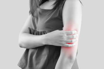 Upper arm pain, People with body-muscles problem, Healthcare And Medicine concept