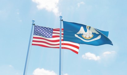 USA and state Louisiana, two flags waving against blue sky. 3d image