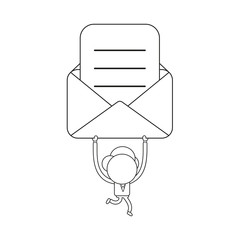 Vector businessman character running and holding up envelope with written paper. Black outline.