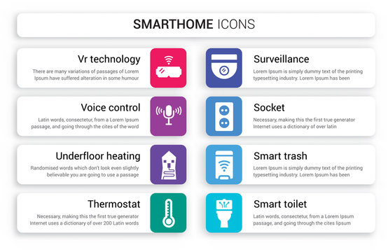 Set of 8 white smarthome icons such as VR technology, Voice control, Underfloor heating, Thermostat, Surveillance, Socket isolated on colorful background
