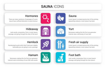 Set of 8 white sauna icons such as Hormones, Hideaway, Hemlock, Hamam, Sauna, Yurt isolated on colorful background