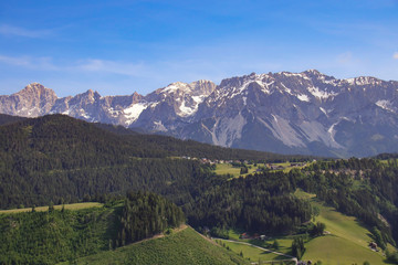 View from summit of mountain Gasselhoehe to mountain range Dachstein in Styria - Austria