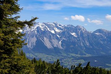 View from summit of mountain Reiteralm to mountain range Dachstein in Styria - Austria