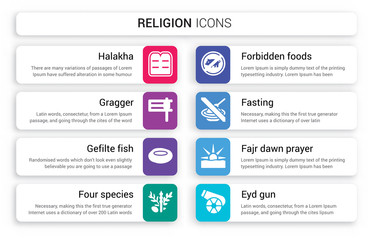 Set of 8 white religion icons such as Halakha, Gragger, Gefilte Fish, Four Species, Forbidden Foods, Fasting isolated on colorful background