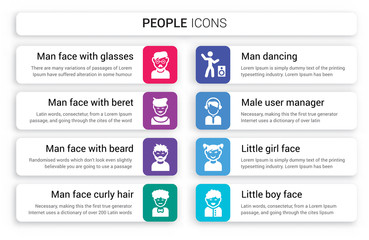 Set of 8 white people icons such as Man face with glasses and goatee, beret beard, curly hair moustache isolated on colorful background