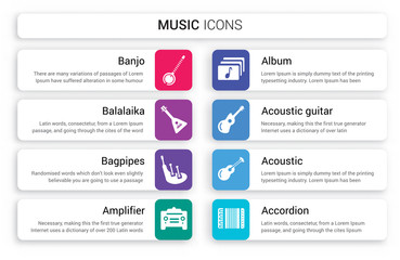 Set of 8 white music icons such as Banjo, Balalaika, Bagpipes, Amplifier, Album, Acoustic Guitar isolated on colorful background
