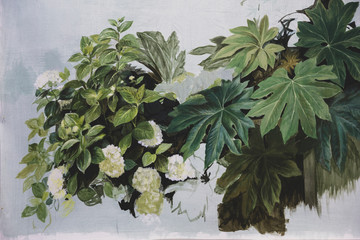 Close up of painting of white flowers and green foliage on light blue background.