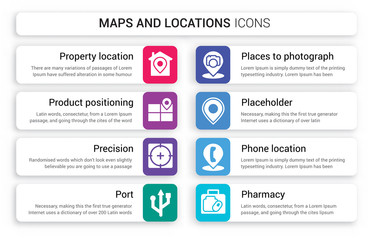 Set of 8 white maps and locations icons such as property location, Product Positioning, Precision, Port, Places to photograph, Placeholder isolated on colorful background