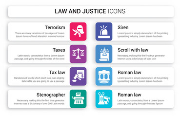 Set of 8 white law and justice icons such as terrorism, Taxes, Tax law, Stenographer, Siren, Scroll with isolated on colorful background