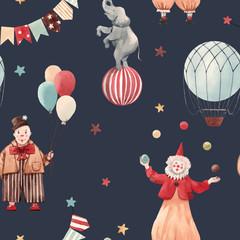 Fototapete - Watercolor circus vector pattern