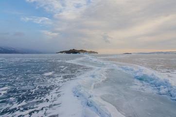 Island icebound Lake Baikal
