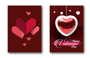 Red heart paper. Red heart balloon.postcard wishes vector illustration.