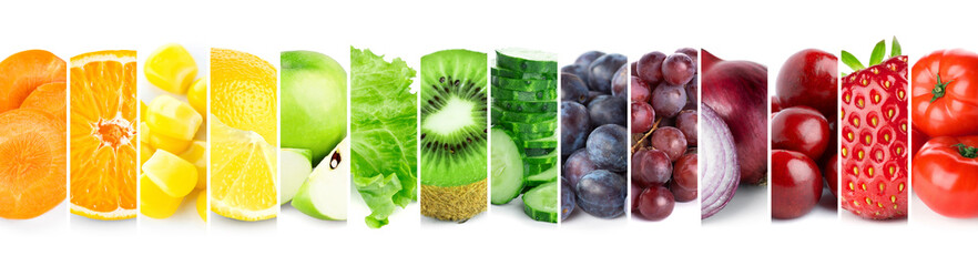 Collage of color fruits and vegetables. Fresh ripe food Wall mural