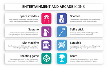 Set of 8 white entertainment and arcade icons such as Space invaders, Soprano, Slot machine, Shooting game, Shooter, Selfie stick isolated on colorful background