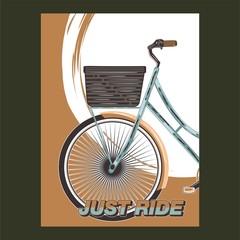 Biking race vintage poster. Biking illustration, cyclist vector retro poster. Layer. - Vector