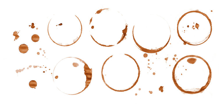 Coffee stain rings isolated on white background