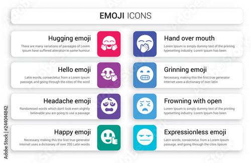 Set of 8 white emoji icons such as Hugging emoji, Hello