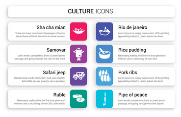 Set of 8 white culture icons such as Sha Cha Mian, Samovar, Safari jeep, Ruble, Rio de janeiro, Rice Pudding isolated on colorful background