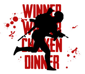Silhouette of a running soldier, PUBG player. in uniform, Playerunknown's Battleground. Vector illustration logo and text Winner winner chicken dinner. Battle royal concept fortnite, pubg