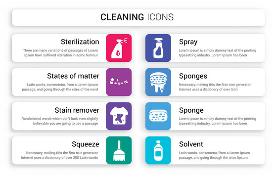 Set of 8 white cleaning icons such as sterilization, States Matter, stain remover, Squeeze, Spray, Sponges isolated on colorful background