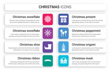 Set of 8 white christmas icons such as snowflake, Christmas shoe, ribbon, present, Peppermint isolated on colorful background