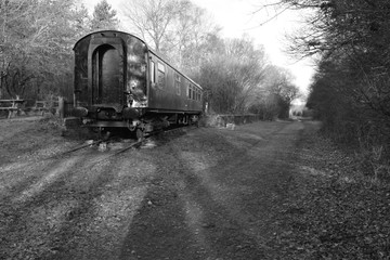 An old Southern Railway carriage at West Grinstead station.
