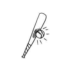 baseball bat and ball vector doodle sketch isolated on white background
