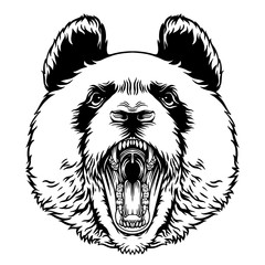 Door stickers Hand drawn Sketch of animals Angry Roaring Panda Head Vector Mascot Character Emblem, grins