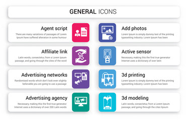 Set of 8 white general icons such as agent script, affiliate link, advertising networks, agency, add photos, active sensor isolated on colorful background