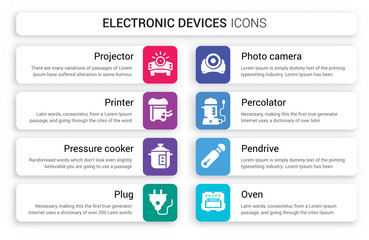 Set of 8 white electronic devices icons such as Projector, Printer, pressure cooker, Plug, Photo camera, percolator isolated on colorful background