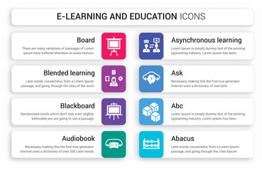 Set of 8 white e-learning and education icons such as Board, blended learning, Blackboard, Audiobook, Asynchronous Learning, Ask isolated on colorful background