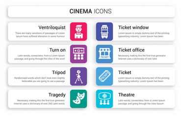 Set of 8 white cinema icons such as Ventriloquist, Turn on, Tripod, tragedy, Ticket window, office isolated on colorful background