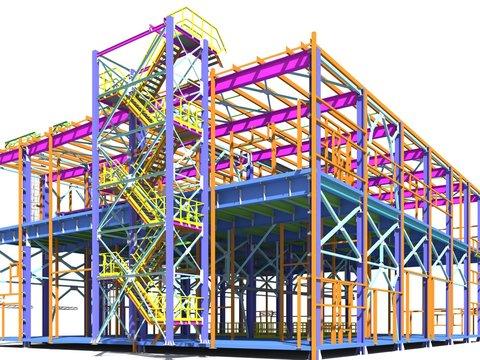 Building Information Model of metal structure. 3D BIM model. The building is of steel columns, beams, connections, etc. 3D rendering. Engineering, industrial, construction BIM background.