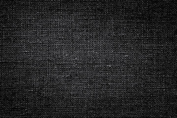 Dark black white linen canvas. The background image, texture.