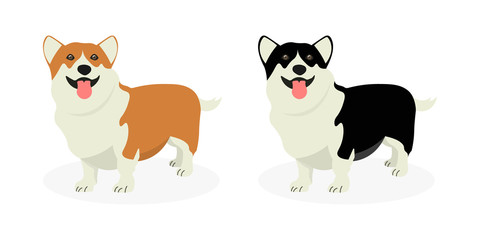 A strip of dogs breed Welsh Corgi. Row of dogs. Pattern of funny doggies.