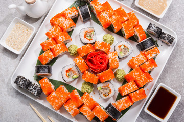 Sushi set on a stone table