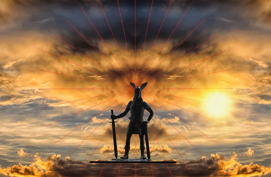 Mythical figure of Old Norse god Odin with sword against backdrop of a dramatic sky with gloomy storm clouds, red lines and bright rising sun, Viking theme, creative illustration