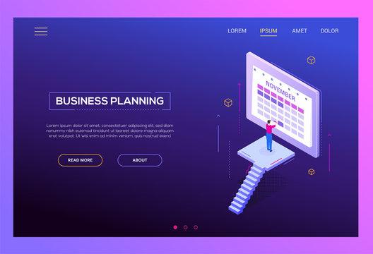 Business planning - modern isometric vector web banner