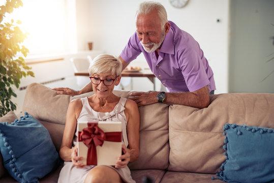 Senior couple celebrating at home