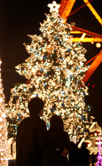 Illumination of Christmas tree attracts visitors in Tokyo.