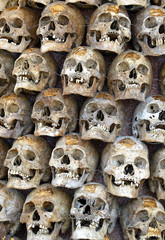 A pile of skulls of 10,198 unidentified unclaimed dead people rests in Samut Sakhon province, near ...