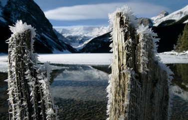 Ice crystals form in the cool around Lake Louise in the Canadian Rockies.
