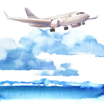 Passenger airplane in blue sky and cloud, flying jet, airliner landing over the sea, travel or vacation concept, hand drawn watercolor illustration on white background