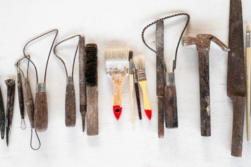 Sculpture tools. Art and craft tools on a white background.