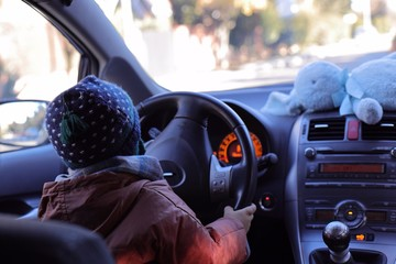 Child playing driving