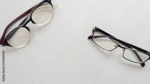Wall mural glasses  on gray background business concept